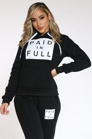 Women's Paid In Full Po Hoodie - Black-VIM.COM
