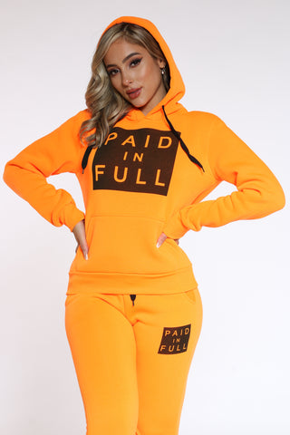 Women's Paid In Full Po Hoodie - Orange-VIM.COM