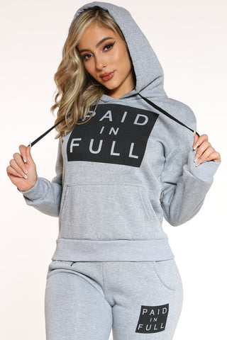 Women's Paid In Full Po Hoodie - Grey-VIM.COM