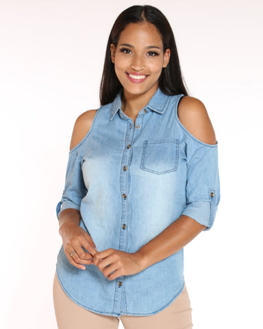 VIM VIXEN Denim Off Shoulder Top - Blue - ShopVimVixen.com