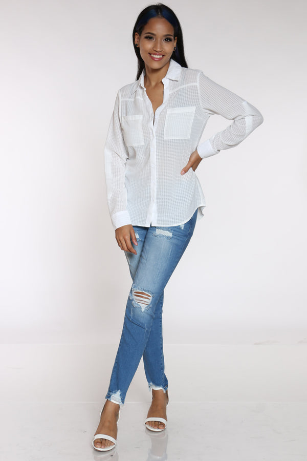 Women's Woven Roll Up Sleeve Top - White