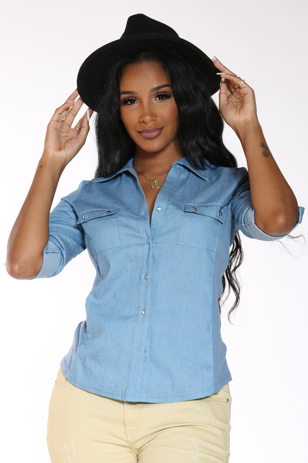 Women's Chambray Woven Shirt - Light Blue-VIM.COM