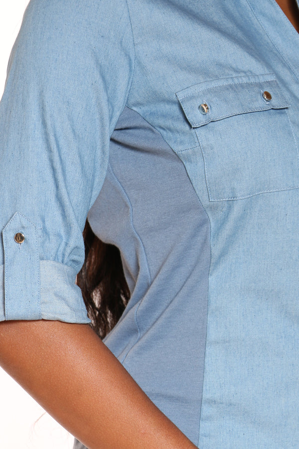 Women's Chambray Woven Shirt - Light Blue