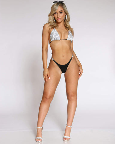 Women's Summer Love Rhinestone Sunsuit - Black