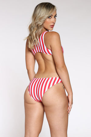 Women's Vertical Stripe Twist Front Bathing Suit - Red