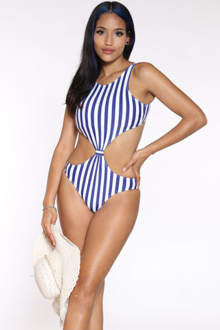 Women's Vertical Stripe Bathing Suit - Navy