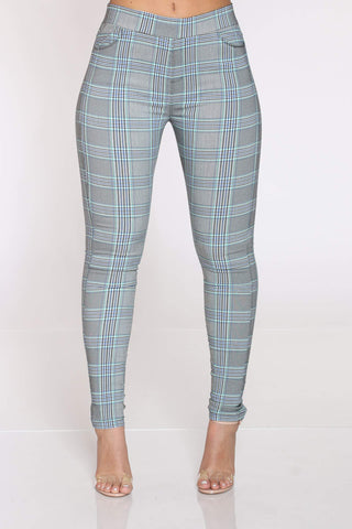 Women's Sadye Plaid Pull On Pant - Grey Blue-VIM.COM