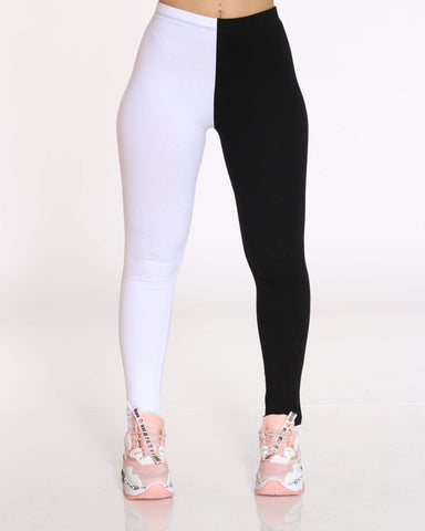 Women's Teanna Split Color Block Legging - Black White