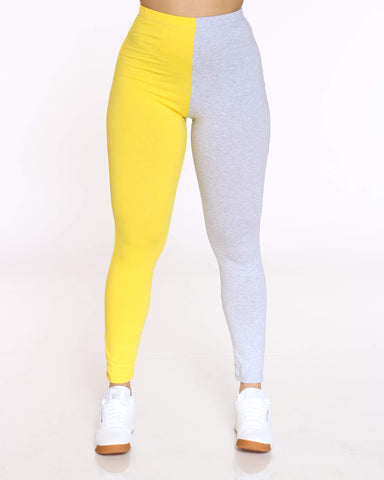 Women's Teanna Split Color Block Legging - Yellow Grey