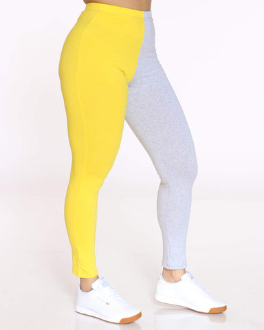 Women's Teanna Split Color Block Legging - Yellow Grey-VIM.COM