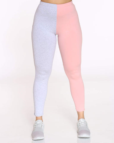 Women's Teanna Split Color Block Legging - Pink Grey