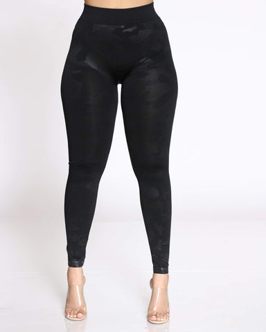 Women's Camo Legging - Black