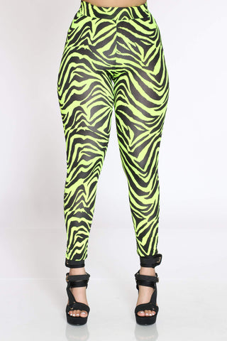 Women's Atha Zebra Legging - Neon Green