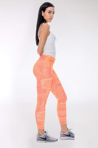 Women's Tori Tie Dye Legging - Orange-VIM.COM