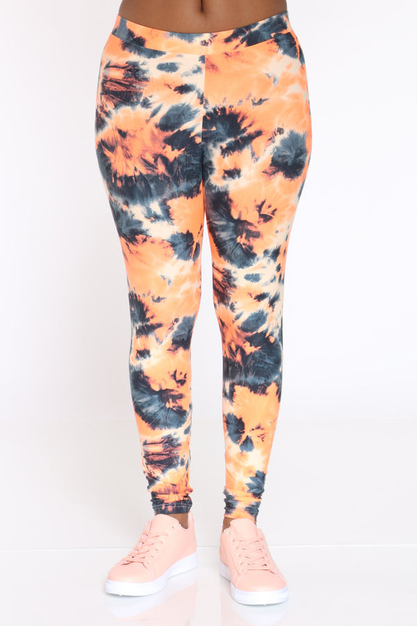 Women's Tie Dye Legging - Orange-VIM.COM