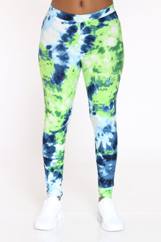 Women's Tie Dye Legging - Green Blue-VIM.COM