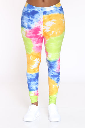 Women's Tie Dye Legging - Orange Blue Pink-VIM.COM