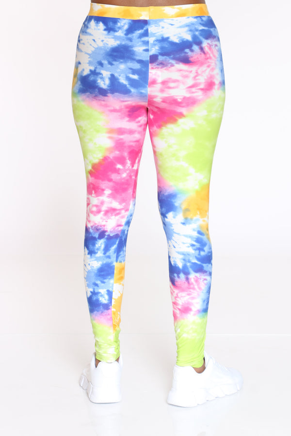 Women's Tie Dye Legging - Orange Blue Pink