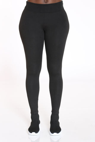 Women's Yummy Solid Legging - Black-VIM.COM