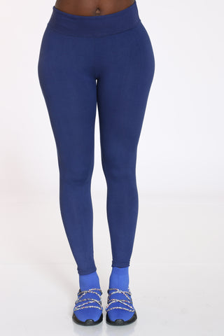 Women's Yummy Solid Legging - Navy-VIM.COM