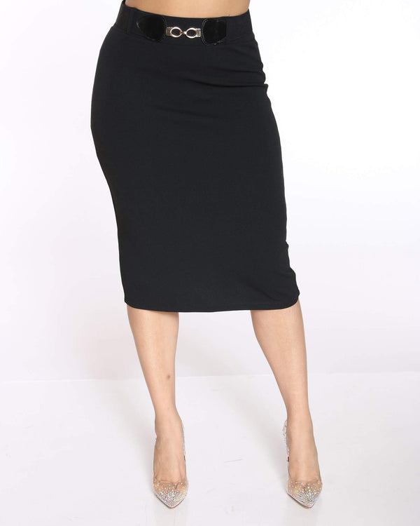 Women's Shireen Belted Crepe Midi Skirt - Black-VIM.COM