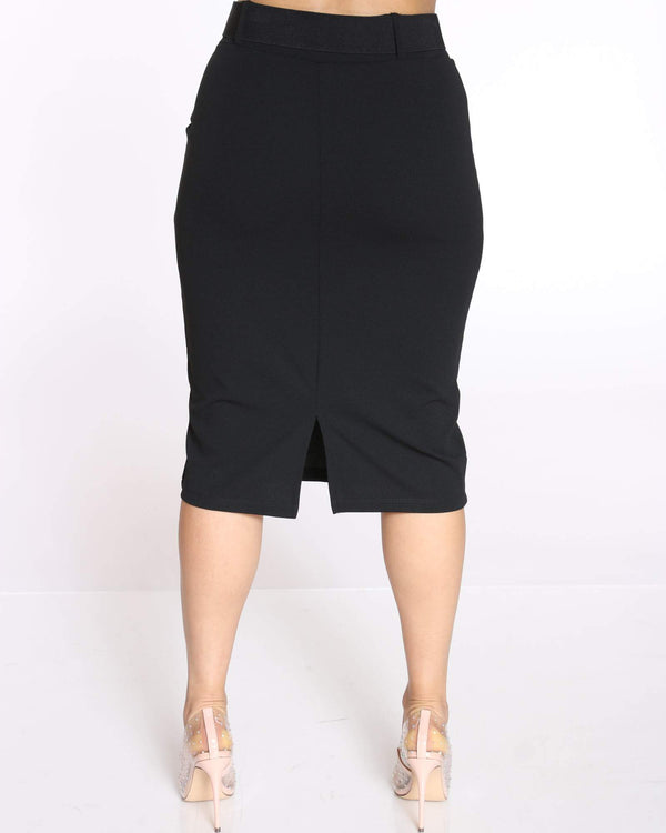 Women's Shireen Belted Crepe Midi Skirt - Black