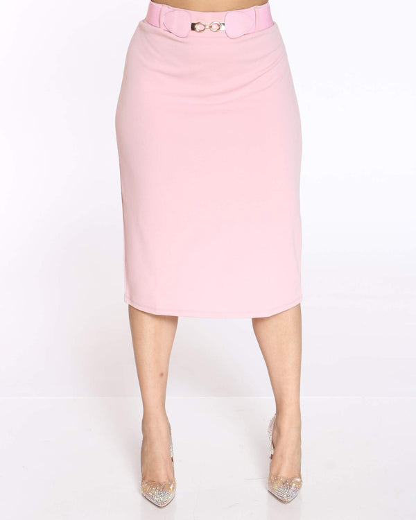 Women's Shireen Belted Crepe Midi Skirt - Blush-VIM.COM