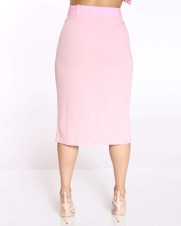 Women's Shireen Belted Crepe Midi Skirt - Blush