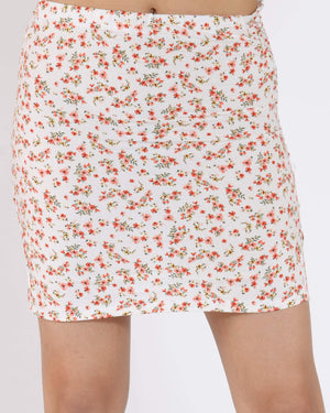 Women's Veronica Floral Midi Skirt - White-VIM.COM