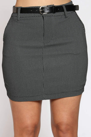Women's Hedwig Belted Dotted Mini Skirt - Black-VIM.COM