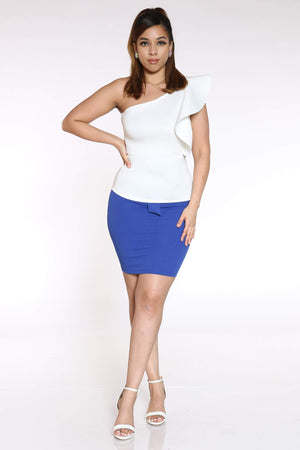 Women's Lexi Front Tie Pencil Skirt - Royal