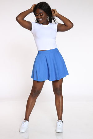 Women's Textured Skater Skirt - Blue-VIM.COM