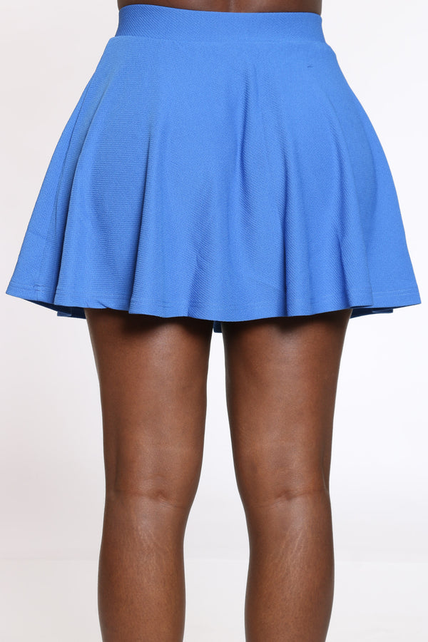 Women's Textured Skater Skirt - Blue