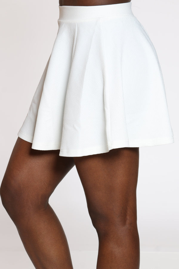 Women's Textured Skater Skirt - Off White