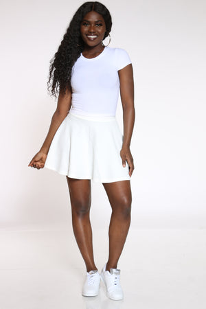 Women's Textured Skater Skirt - Off White-VIM.COM