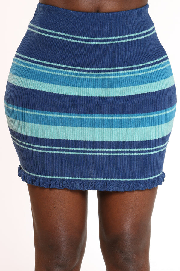 Women's Striped Ribbed Skirt - Blue-VIM.COM