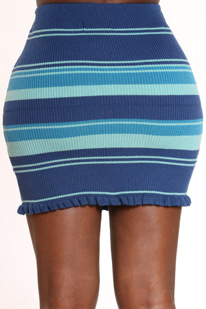 Women's Striped Ribbed Skirt - Blue
