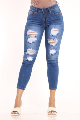 Women's Ripped Highwaist Skinny Fit Jean - Medium Blue-VIM.COM