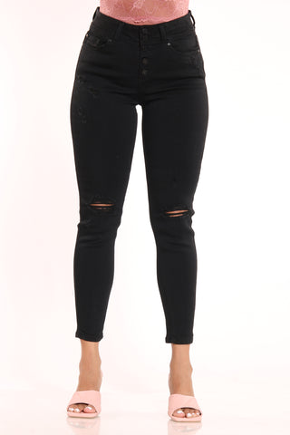 Women's 5 Button Ripped Skinny Fit Jean - Black-VIM.COM