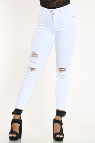 Women's 2 Button Ripped Skinny Fit Jean - White-VIM.COM