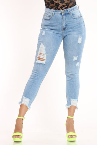 Women's Ripped Highrise Skinny Fit Jean - Light Blue-VIM.COM