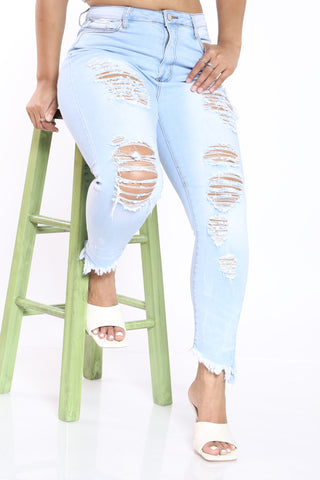 Ripped Fray Hem Jean - Ice-VIM.COM