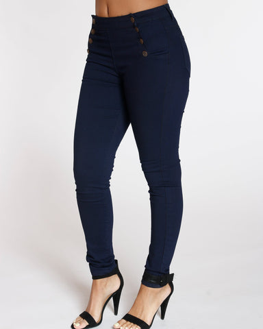 VIM VIXEN Elmira 8 Button High Waist Jean - Dark Blue - ShopVimVixen.com
