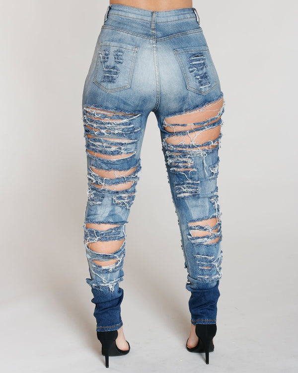 VIM VIXEN Heavy Ripped Front And Back Jean - Medium Denim - ShopVimVixen.com