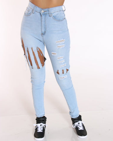 VIM VIXEN Razor Slash Ripped Jean - Light Blue - ShopVimVixen.com