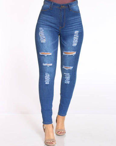 Women's High Waist Ripped Jean - Medium Blue