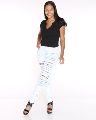 VIM VIXEN Heavy Ripped Hi Rise Jean - Light Blue - ShopVimVixen.com