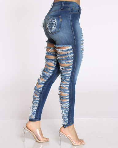 Women's Front Ripped & Heavy Back Ripped Jean - Blue-VIM.COM
