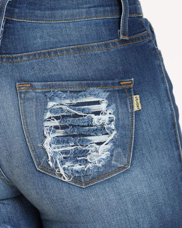 Women's Front Ripped & Heavy Back Ripped Jean - Blue