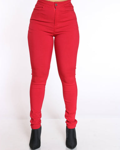 Women's Nyla Stretch High Waist Jean - Red